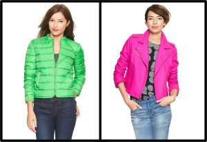 Gap Crewneck Puffer $98 Gap Bright Wool Moto Coat $128